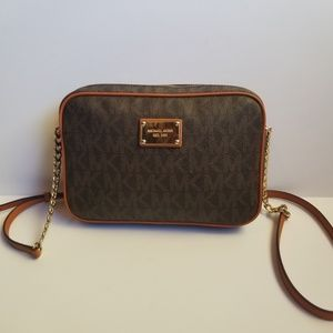Michael Kors Jet Set Logo Crossbody Brown Orange